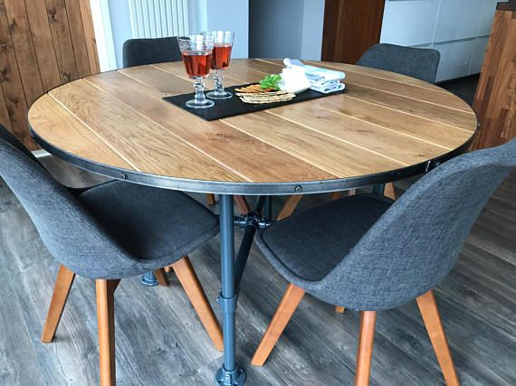 Solid Oak Industrial Style Dining Table Round Oak Kitchen Entrancing Industrial Style Dining Room Tables Design Decoration