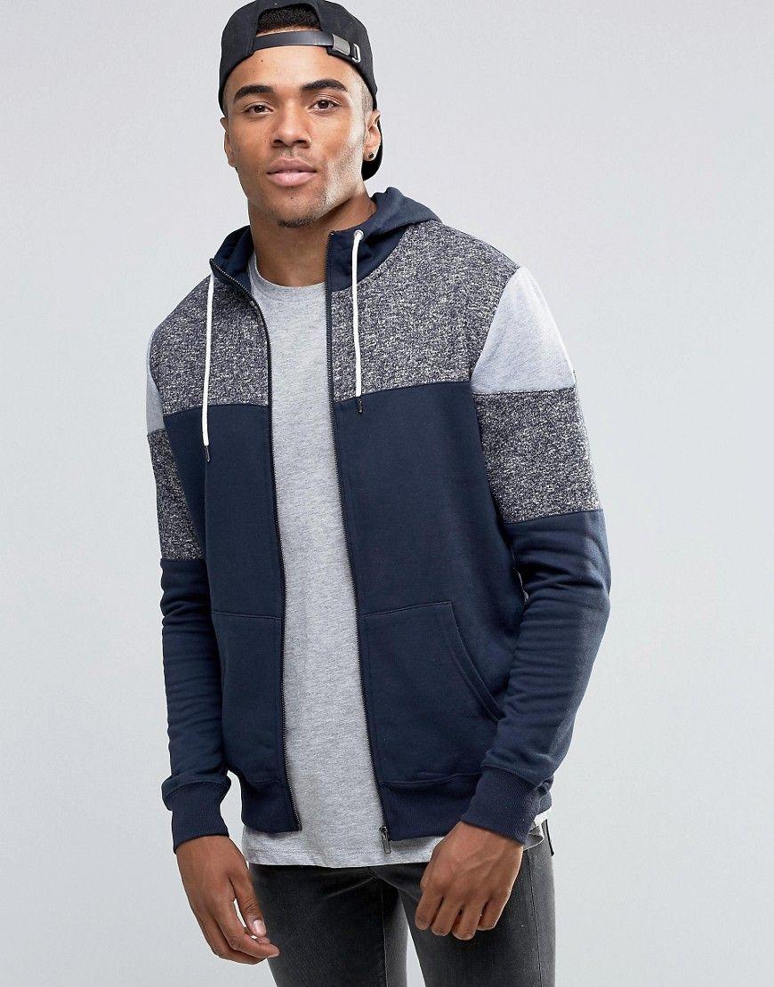 Mens hooded flannel jacket  Imagen  de Sudadera con capucha azul marino con detalle color block