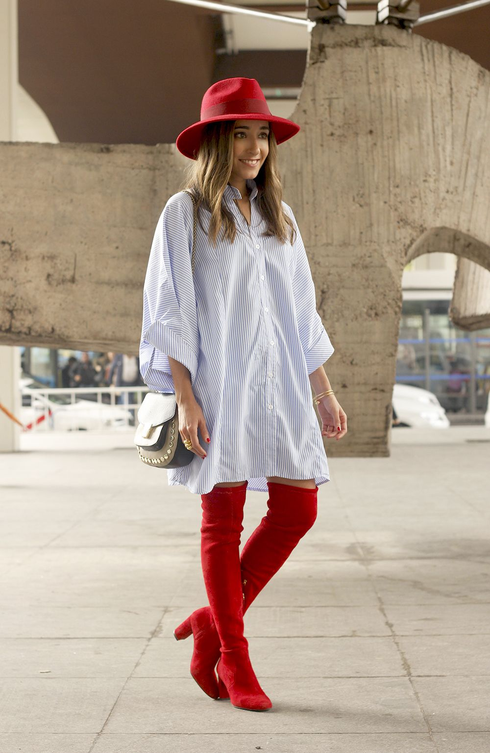 Over Red hautes The Knee Striped Dress BootsBottes With XZPuki