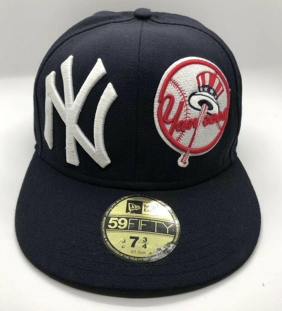 Mlb New York Yankees Cap Hat Fitted Size 7 3 4 Polycotton Caps Hats Hats Yankees Hat