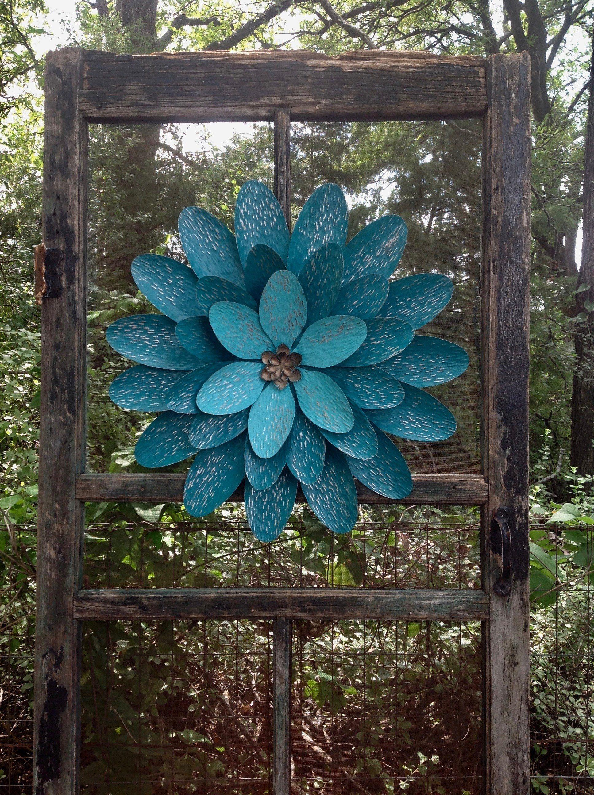 "22"" Teal Blue Metal Flower Wall Art 'Madeline' - ExLarge ..."