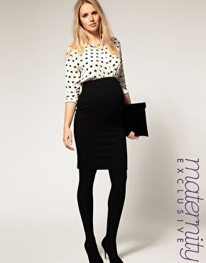 3c3cf0f0a3880 A pencil skirt that just might work. High waisted ponte pencil skirt  Maternity ...