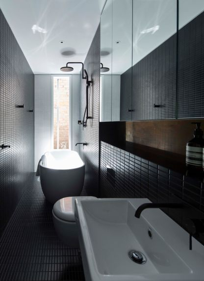 Narrow Bathroom Design   Splinter Society Architecture P/L For Black Moon  Rising Image: