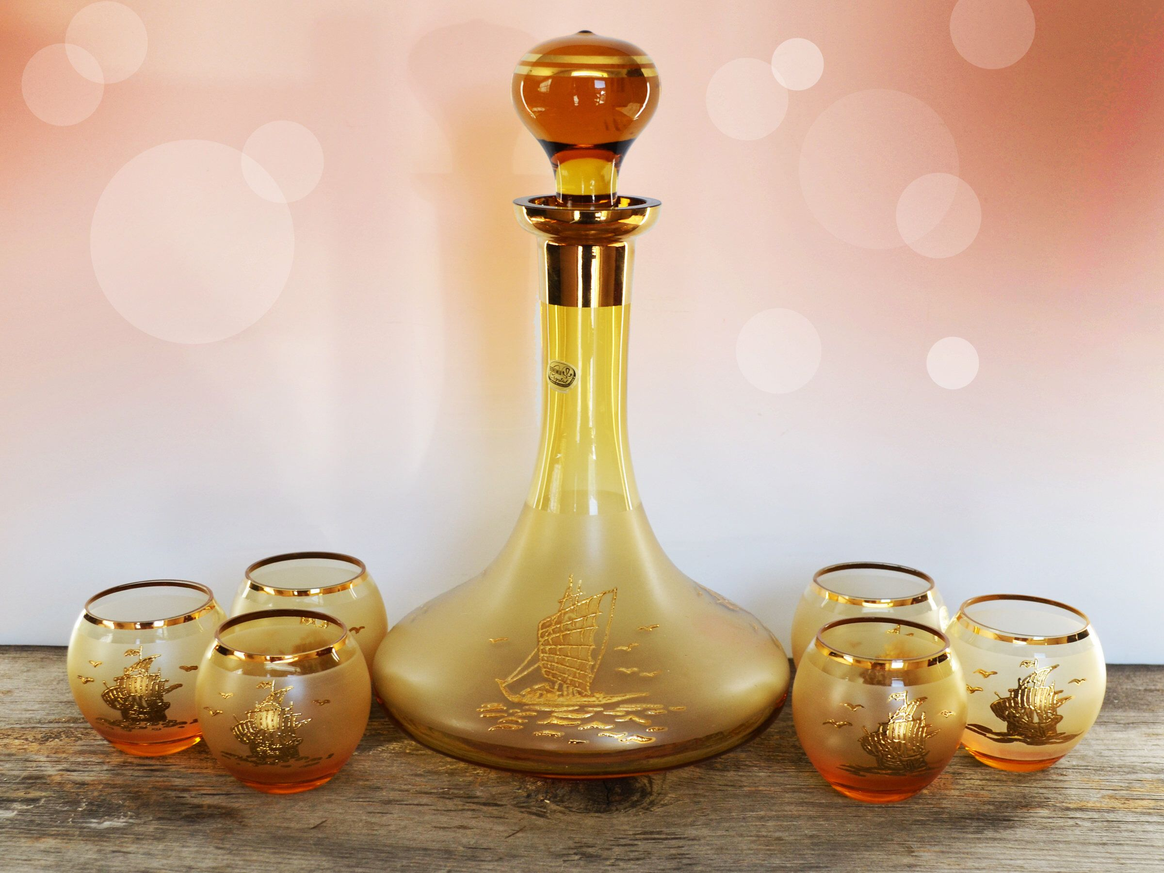 Vintage Amber Glass Decanter And Cognac Set Roly Poly Bohemian Glass Handblown Marine Nautical E Glass Decanter Set Hand Blown Glass Decanter Glass Decanter