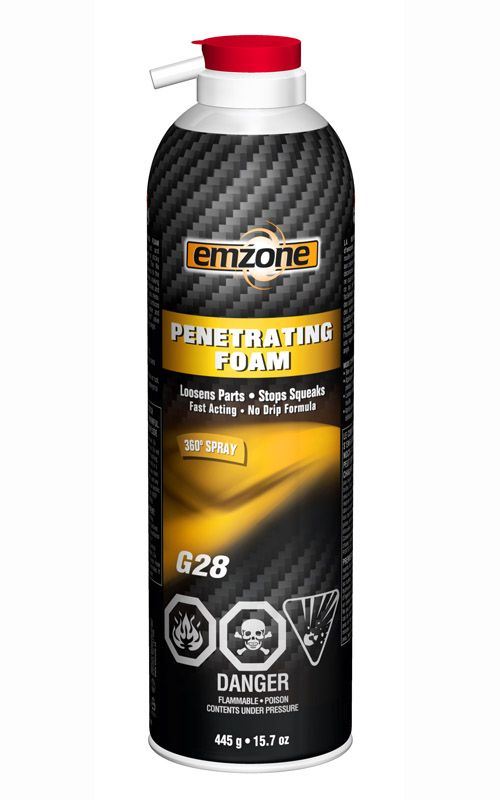 emzone Penetrating Foam penetrates through rust and surfaces to allow tight or sticky parts to be loosened. The No Drip foam formula adheres to the surface while it penetrates, making work underneath automobiles and equipment easier with less mess. It also lubricates and protects surfaces against rust while repelling water and displacing moisture. The 360° valve allows spraying from any angle. www.emzone.ca