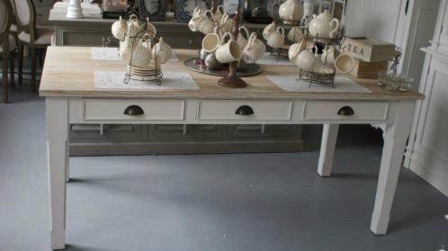 Eettafel White Wash.Landelijk Eettafel White Wash Blad En Laden Tafels Tables