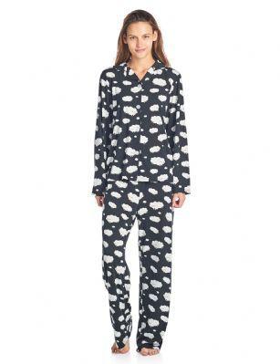 1e3cd006ef BHPJ By Bedhead Pajamas Women s Brushed Back Soft Knit Pajama Set - Black    White Dancing Sheep - Size Chart  X-Small  38