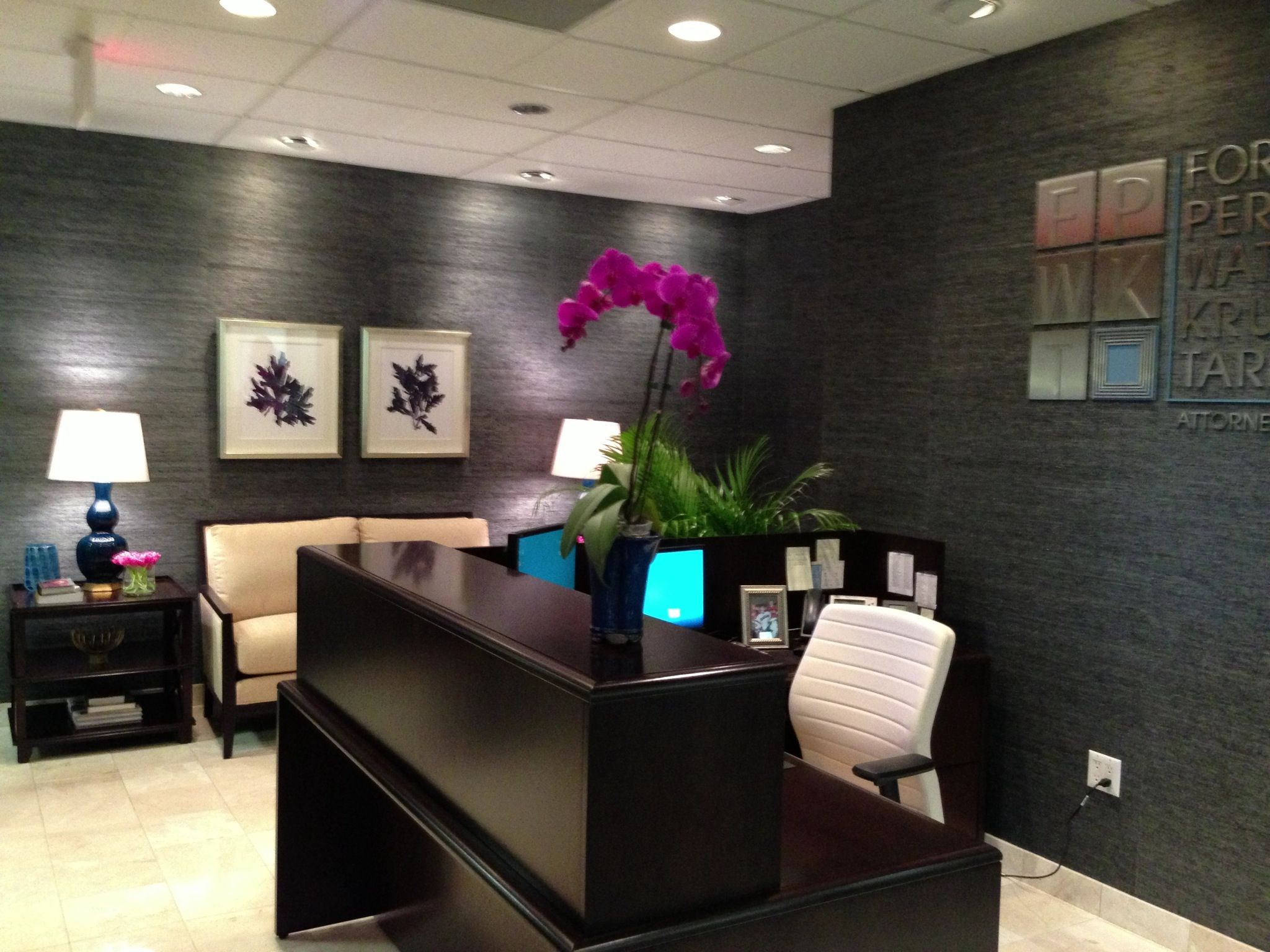 A law firm reception area by christina kim interior design for Law office design ideas