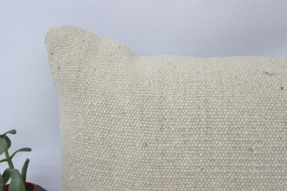 12x20 Rustic Pillow, Vintage Kilim Pillow, Lumbar Pillow,Pillow Cover, Flat Pillow, Beige Pillow, De