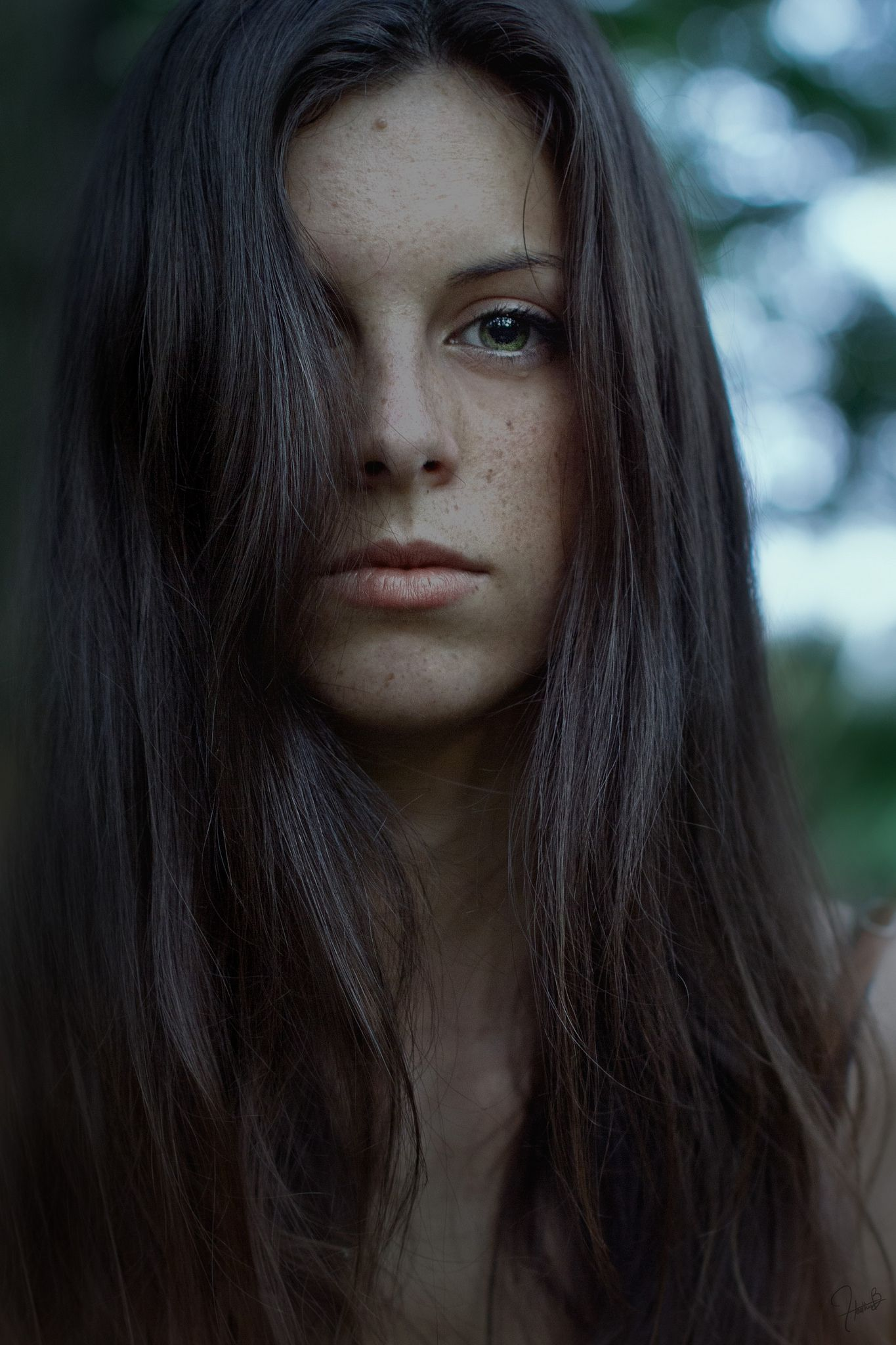 Portrait by Heather B. https://www.facebook.com/EricaBertolacciWorks?fref=photo  #model #shooting #inspiration #portrait #photography #fineart #fine #art #photographer #long #hair #brown #wood #forest #amazing #beautiful #beauty #eyes #green #blue #mood