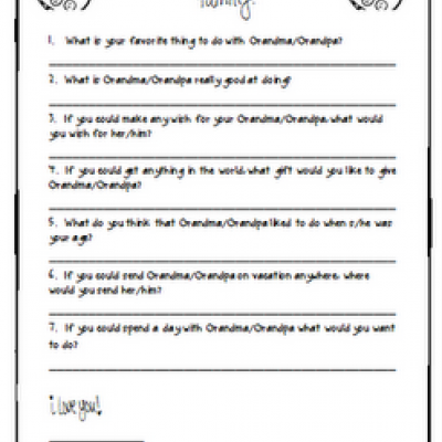 GrandparentS Day Printable Questionnaire  Preschool Theme