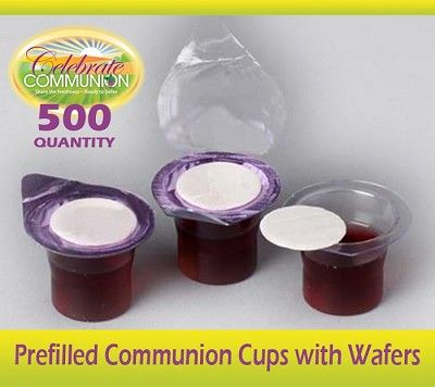 Prefilled Communion Cups with Wafers- Box of 500 | Prefilled