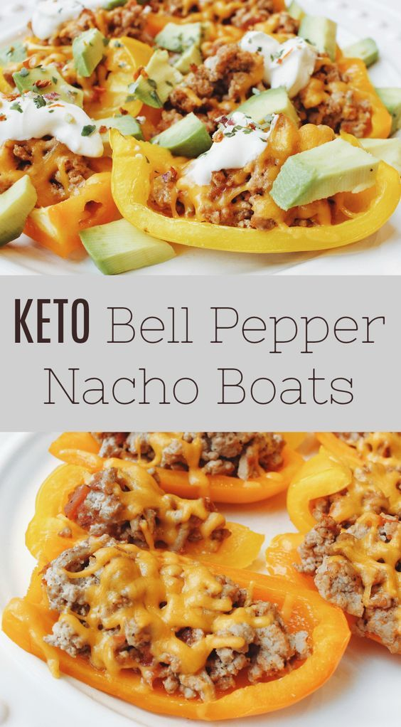 Bell Pepper Nacho Boats - Low Carb Keto Appetizer Recipe #bellpepperrecipes