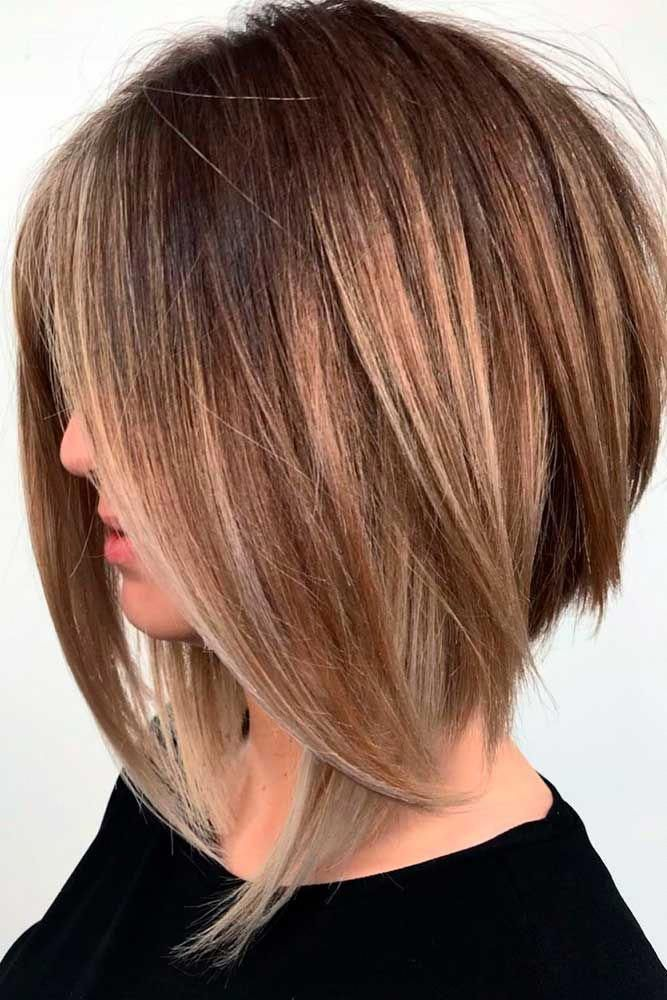 Inverted Long Bob With Swoopy Layers Brownhair Angledbob With Layered Bob Haircuts There S No Way Y In 2020 Bob Hairstyles Thick Hair Styles Choppy Bob Hairstyles