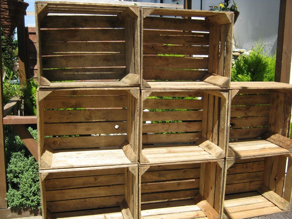 4 Rustic Wooden Apple Crates ideal storage