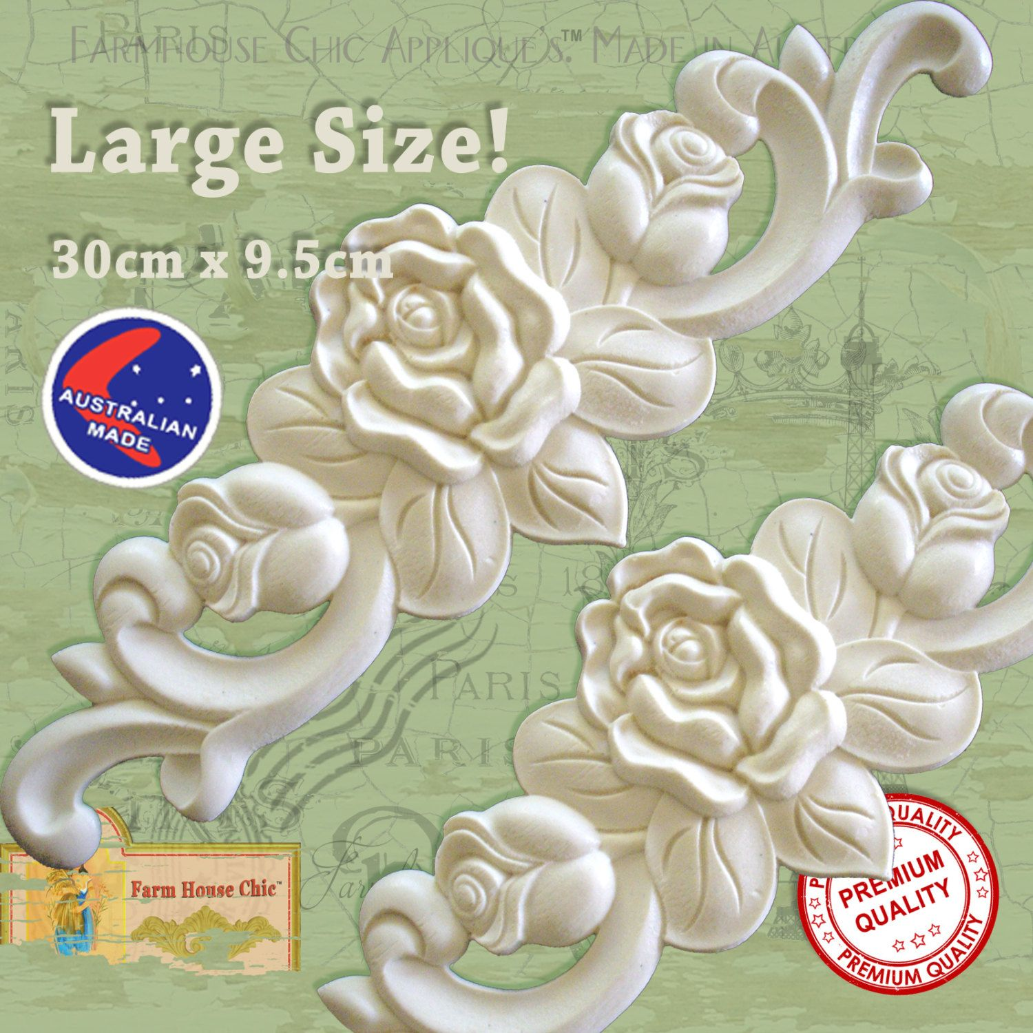 Large Shabby Chic French Furniture Roses Lique Moulding Carving Onlay Decoration Made From A Resin Wood