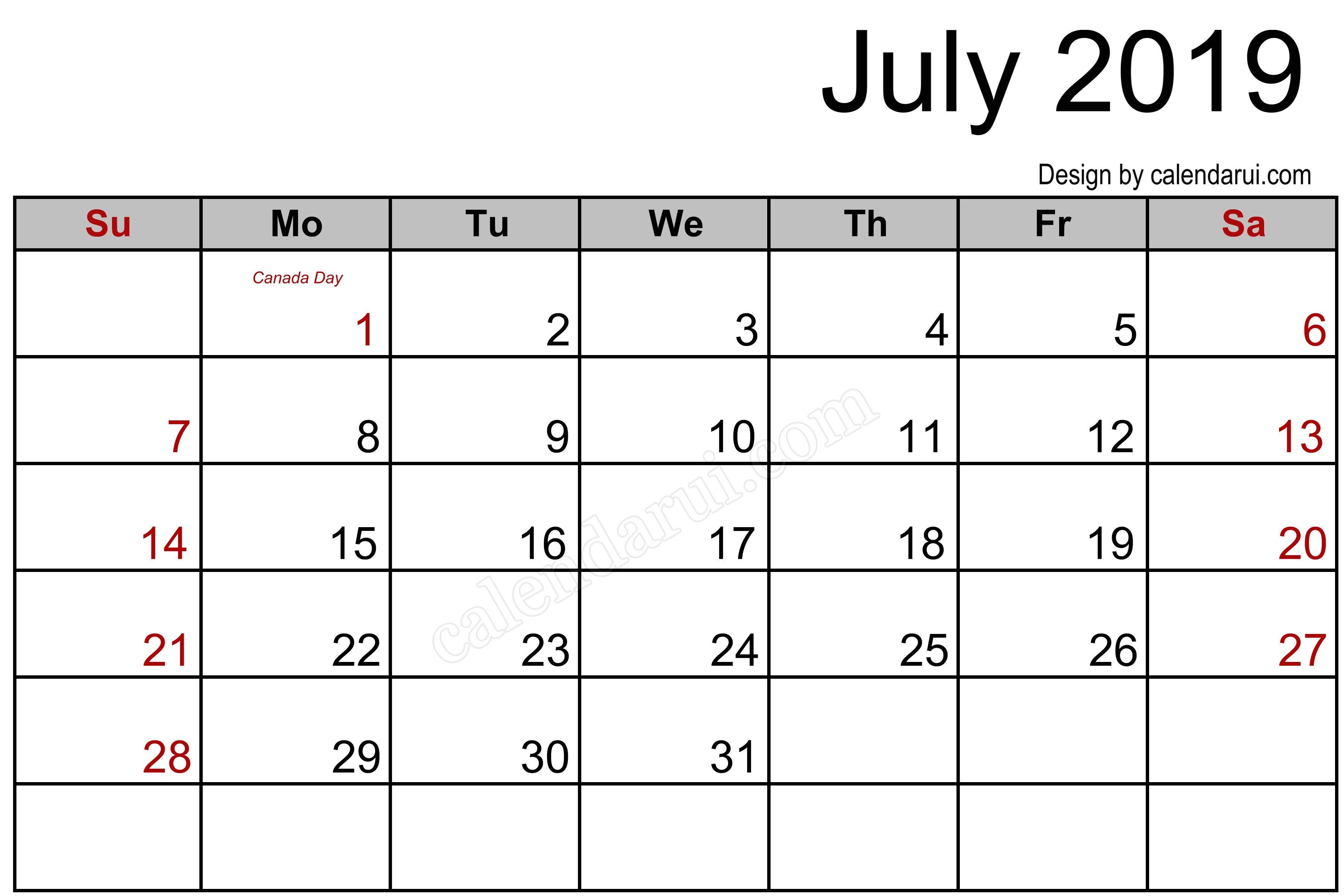 Canada July 2019 Calendar Printable Template Blank 2019 Calendar