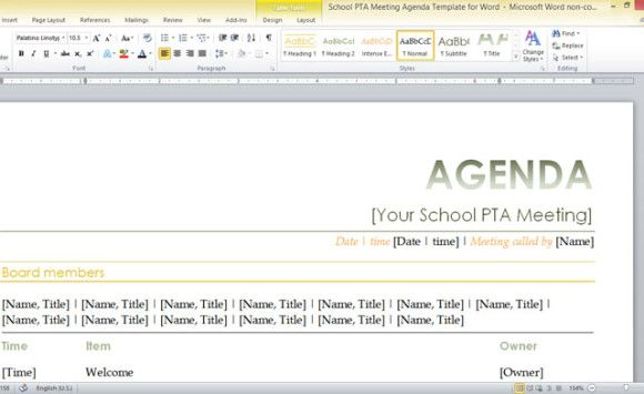 school PTA meeting agenda template for Word PTA\/ teacher lounge - board meeting agenda template