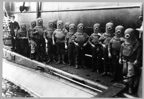 1908 Submarine Escape Apparatus.  Ha Ha!  They all look like Minions!
