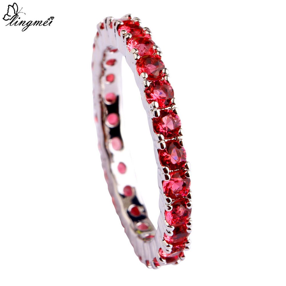 Lingmei new wedding jewelry round red aaa cz silver ring for women