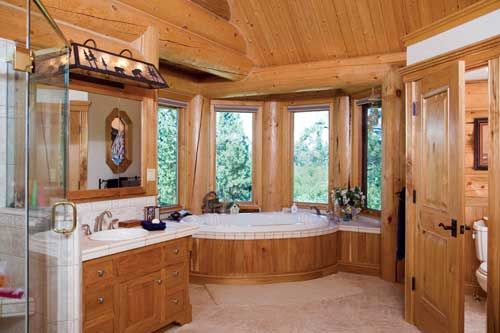 Pics for log cabin master bathrooms for Log cabin bathroom pictures