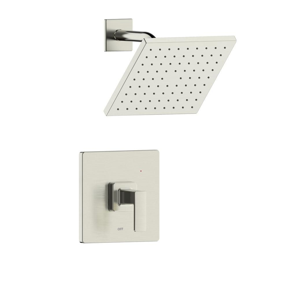 Photo of Fontaine by Italia Htel de Ville Single Handle 1-Spray Square Shower Faucet with Rough-In Valve in Brushed Nickel-MFF-HVS-BN – The Home Depot