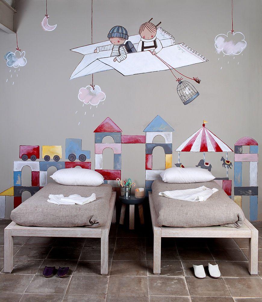 Mural para habitacion infantil 2 ni os en un avi n de - Habitaciones ninos decoracion ...