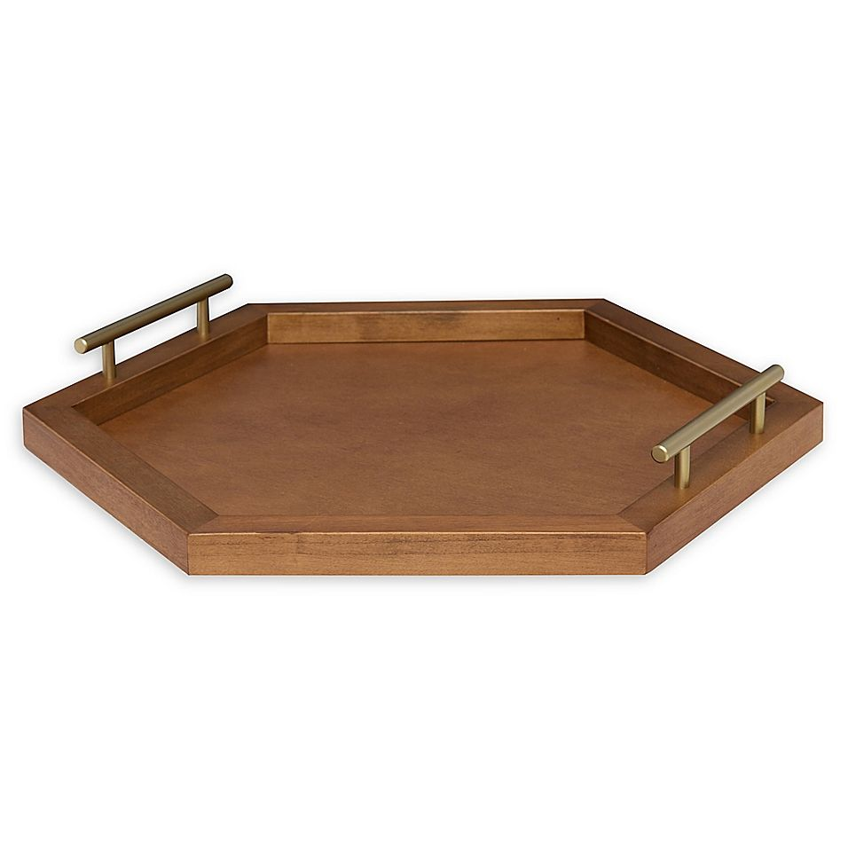 Kate And Laurel Halsey Hexagonal Decorative Tray In Caramel Gold