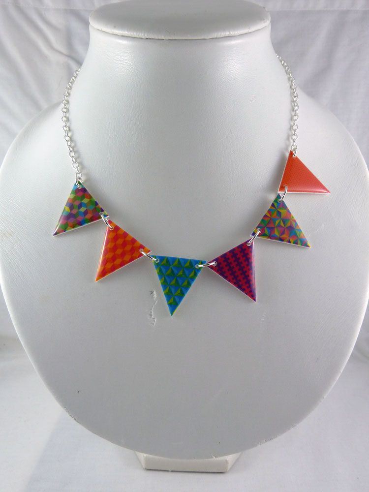 Bunting Necklace - Rainbow - Geometric via Etsy. I so love @Kellie Christie jewellery!
