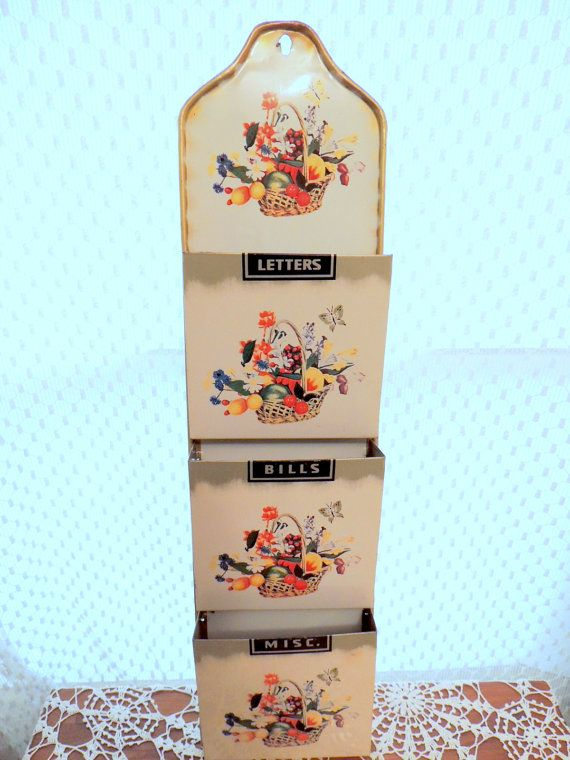 vintage 3 pocket tin litho letter holder wall hanging basket of fruit and floral motif by
