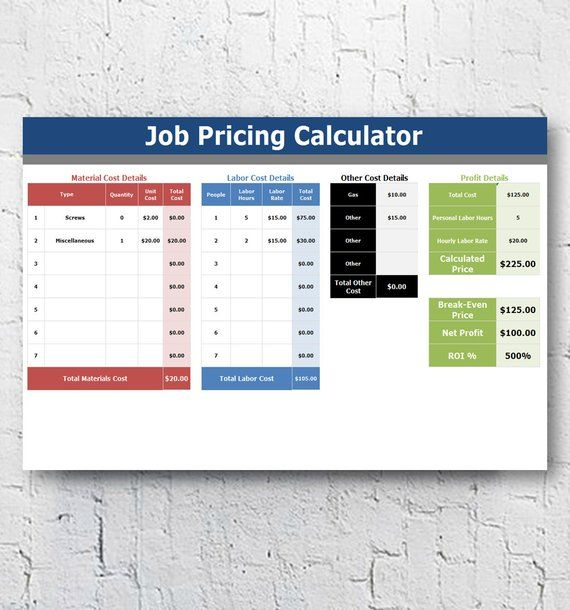 Cleaning Business Management Software + Job Pricing Calculator - roi spreadsheet