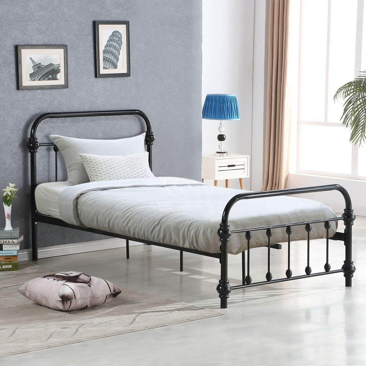 Giantex Twin Size Bed Frame Wood Slats Support Platform