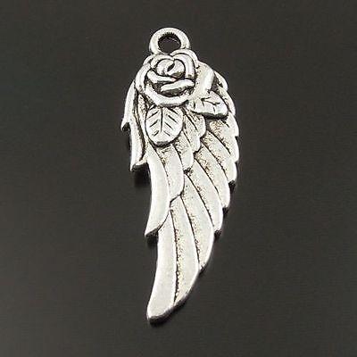 Antique-Style-Silver-Tone-Wing-Rose-Zinc-Alloy-Pendants-28-11mm-6-pcs