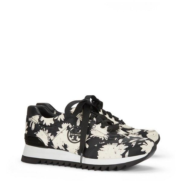 Tory Burch Printed Sawtooth Logo Sneakers ($235) ❤ liked on Polyvore  featuring shoes,