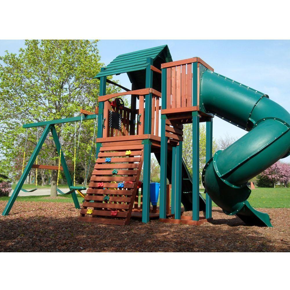 Swing-N-Slide Playsets Green Turbo Tube Slide | Backyard ...