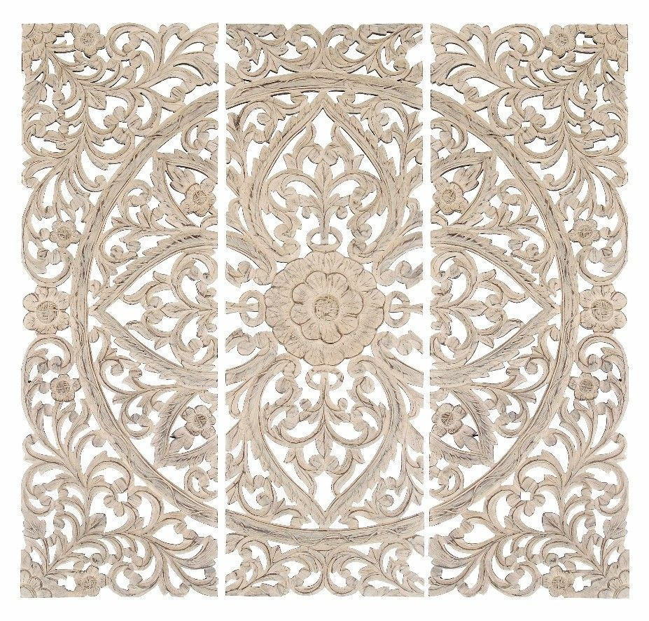 Wooden Wall Art Panels Part - 30: Lotus Wall Panel Set Home Wall Decor Wall Art Set Of 3 Carved Wood Wall  Panels