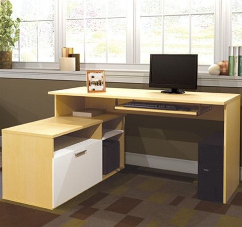 L Shaped Compact Sustainable Computer Desk In White Maple Finish
