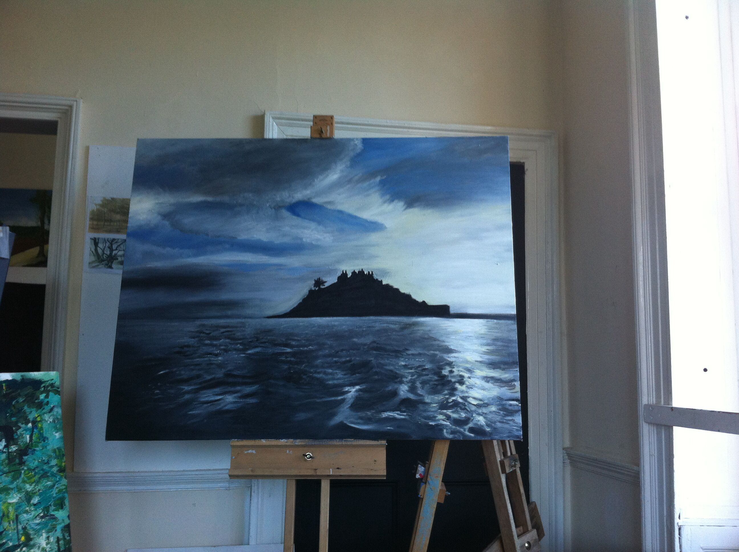 Painting of an island in Cornwall