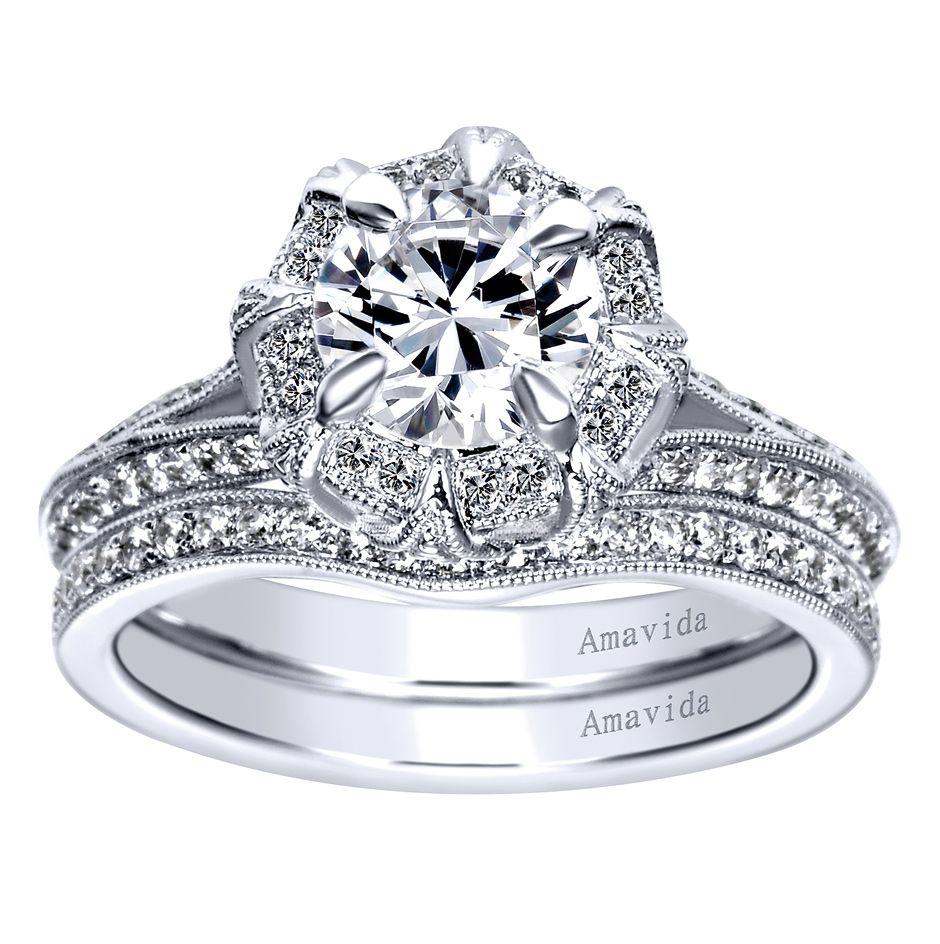 Amavida Victorian Halo Engagement Ring