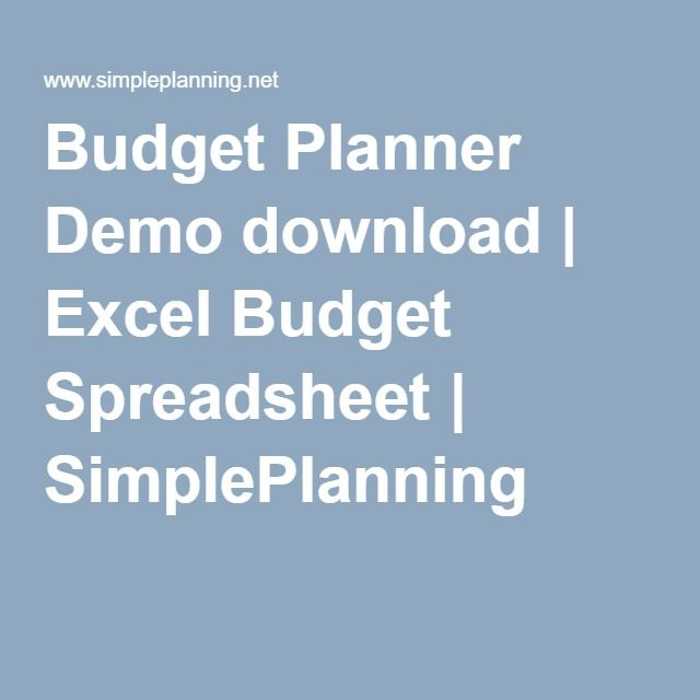 Budget Planner Demo download Excel Budget Spreadsheet