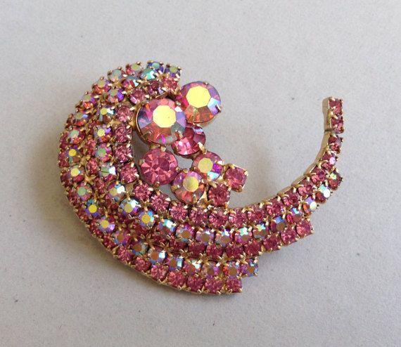 Gold Tone Pink Aurora Borealis and Clear Pink Rhinestone Swirl Pin/Brooch