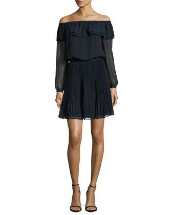 Off-the-Shoulder+Pleated+Dress,+New+Navy+by+MICHAEL+Michael+Kors+at+Neiman+Marcus.