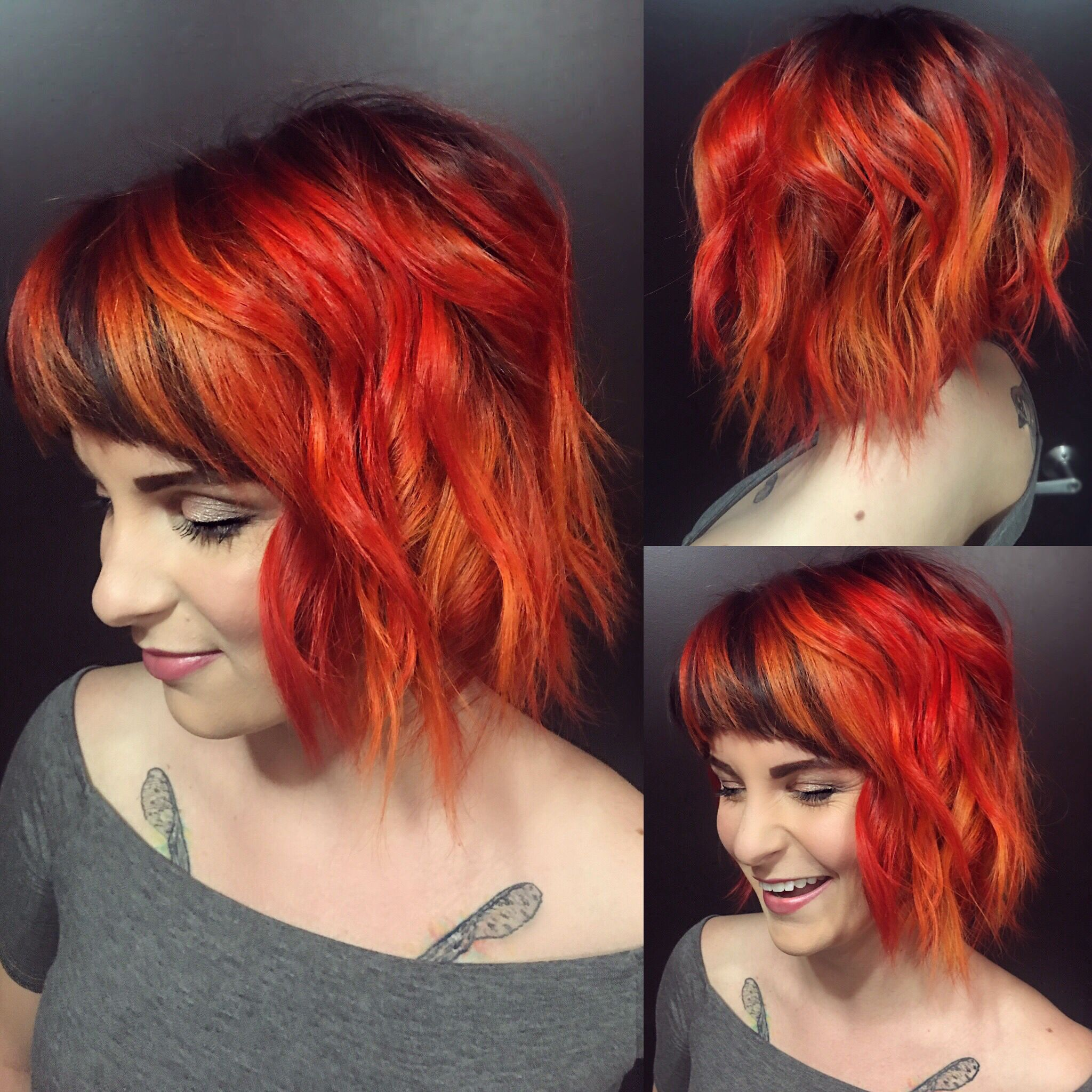 Custom mixed pravana with red oranges and a shadowed dark ...