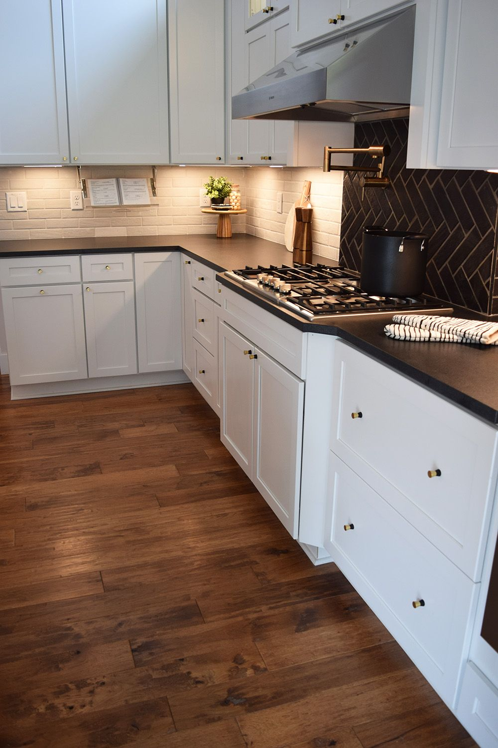 The contrast between this hickory hardwood and white shaker style ...