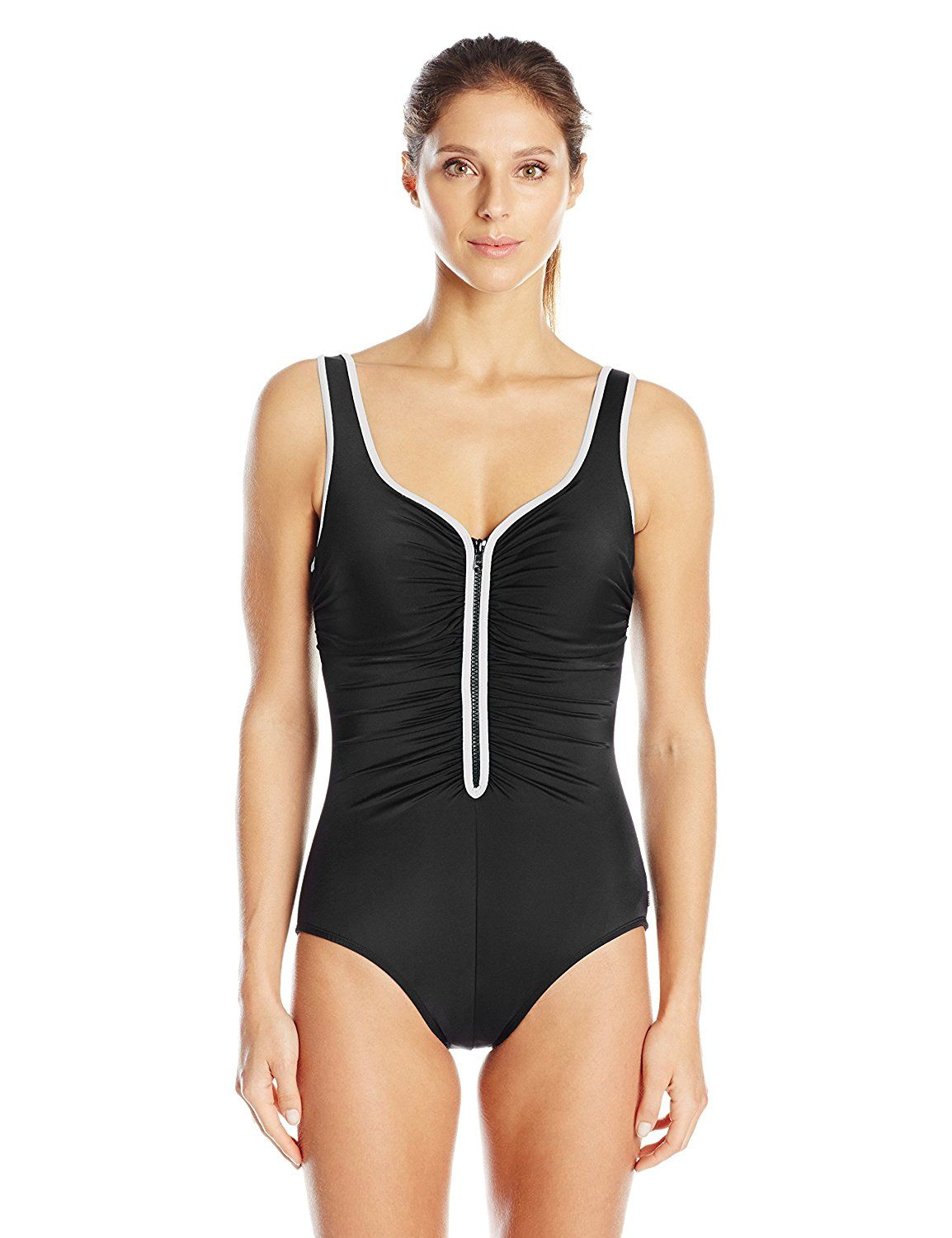 80cf372961c83 Reebok Women s Zig Zag Zipper Suit Constructed One Piece Swimsuit -- Read  more reviews of the product by visiting the link on the image.