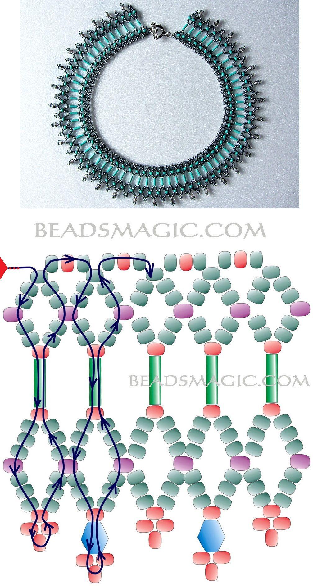 Collar con su esquema | Collares | Beads, Jewelry y Beading patterns