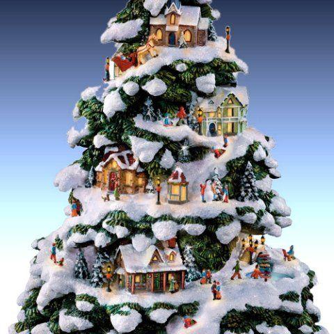 thomas kinkade village christmas artificial tabletop christmas tree detail - Christmas Tree Village