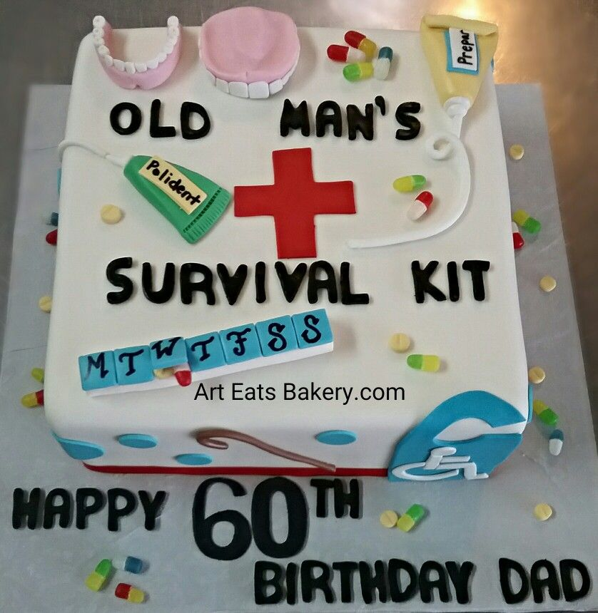 Old Mans Survival Kit Custom 60th Birthday Cake Design With Edible