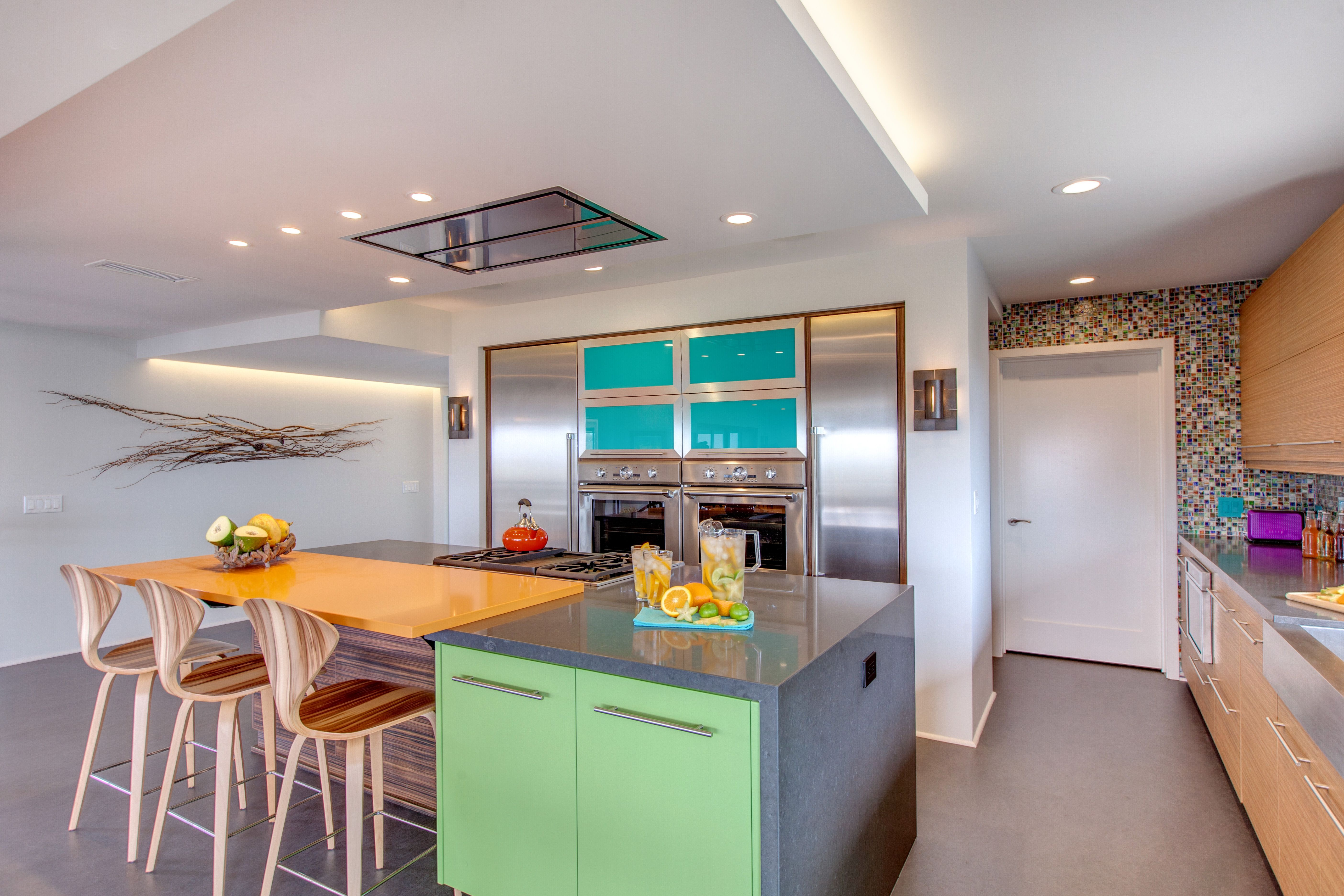 Window decor and more orange beach  this kitchen vibrates with exciting shades of orange green and