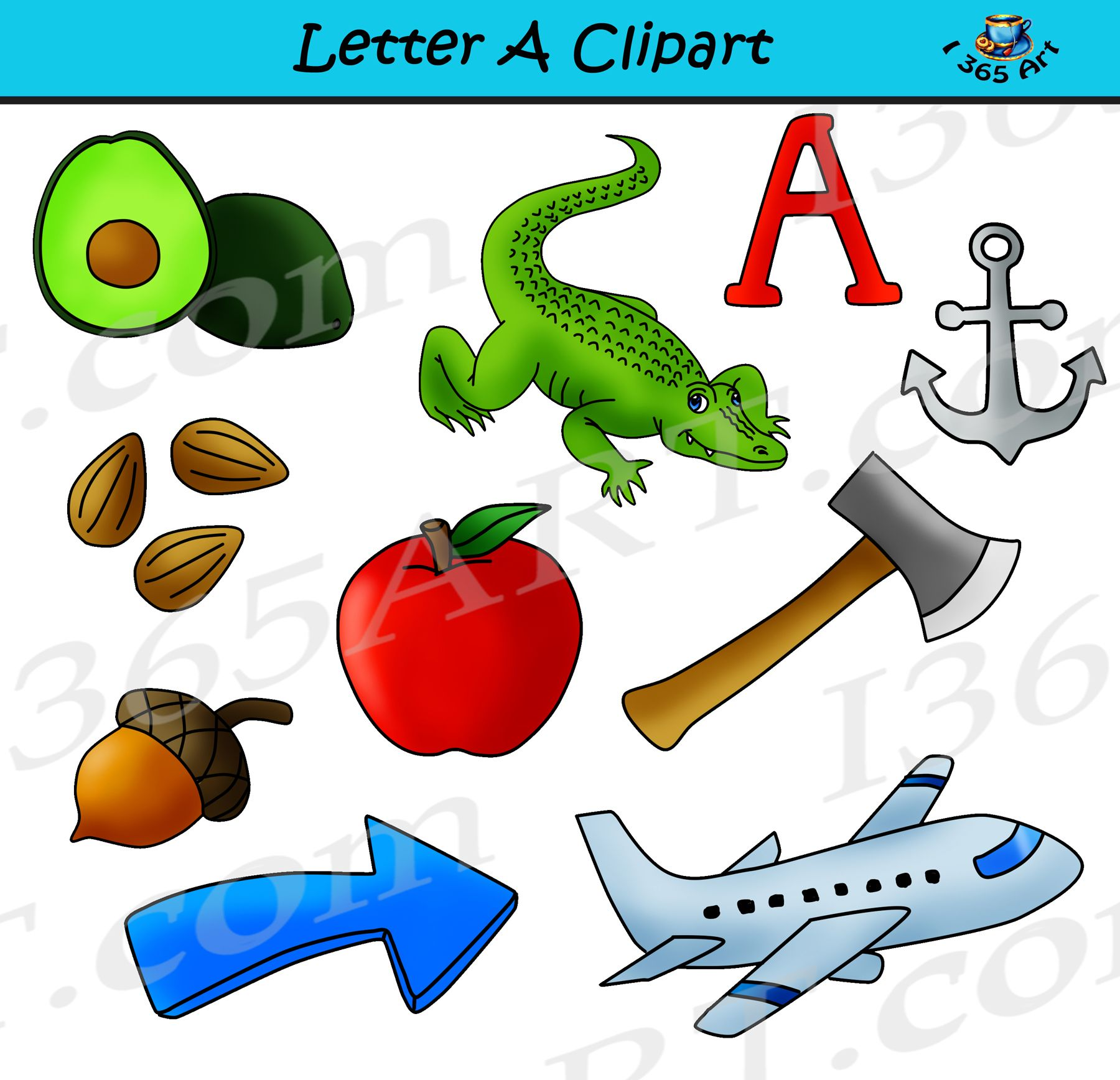Letter A Objects Clipart Learning The Alphabets Commercial Clipart Learning The Alphabet Clip Art Lettering